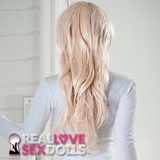 Long wavy platinum blonde side part sex doll wig as seen on Skye