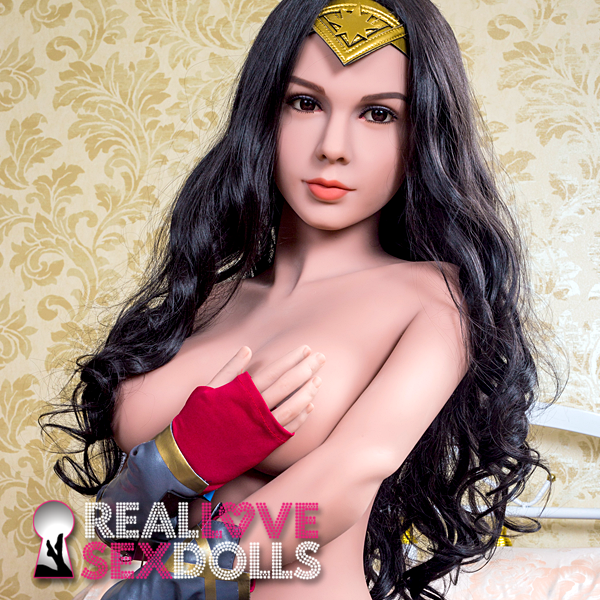 Long silky black wavy middle part wig for beautiful premium TPE sex dolls
