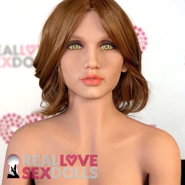 Sex doll accessory, short auburn wig with a center part.