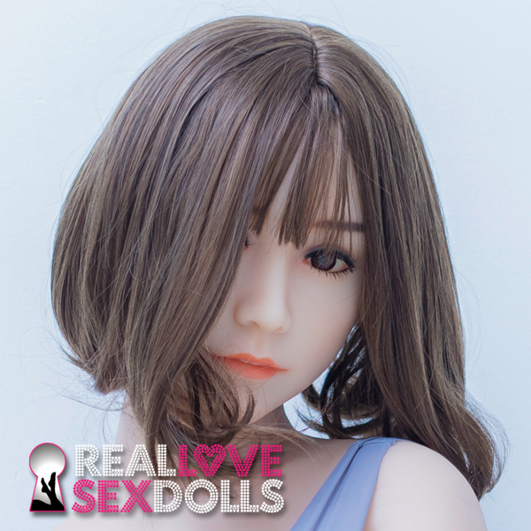 shoulder length sporty brunette cut with bangs premium wig for TPE sex dolls