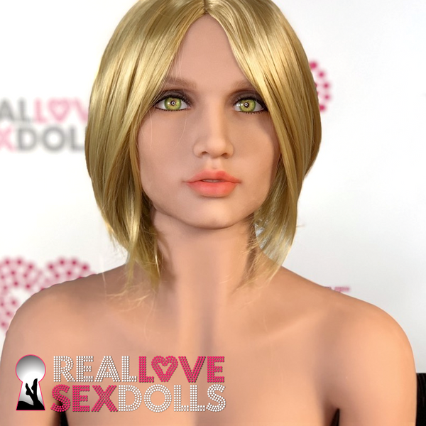 Sex doll accessory, short golden blonde bob wig with center part.