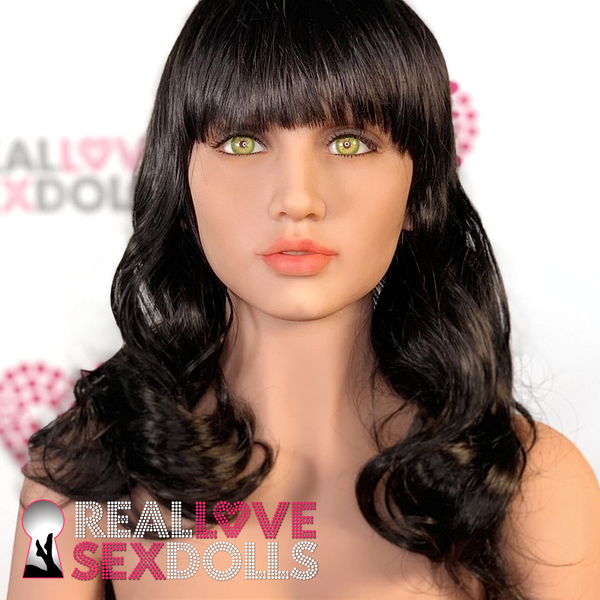 Sex doll accessory, mid-length wavy black wig with bangs.