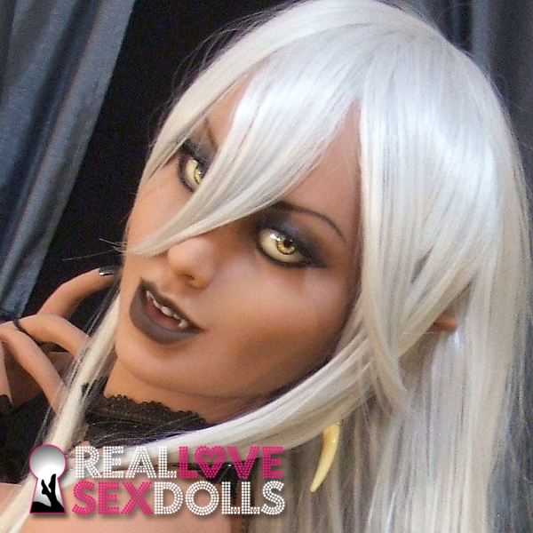 Long white vampire cosplay wig for premium TPE sex dolls