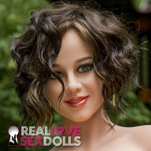 Brunette tight curls center part wig for premium TPE sex dolls