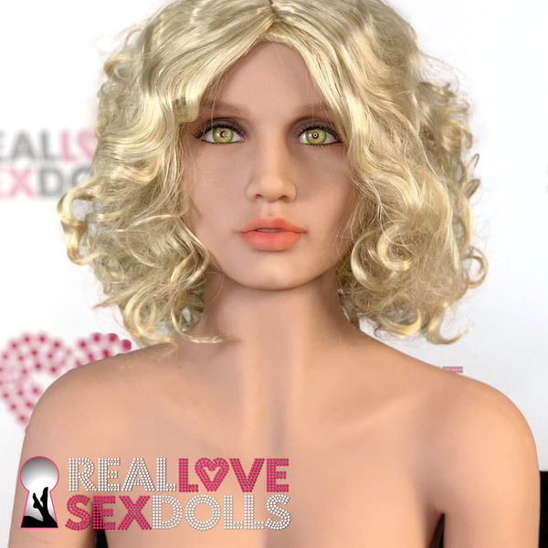 Sex doll accessory, short curly blonde wig with center part