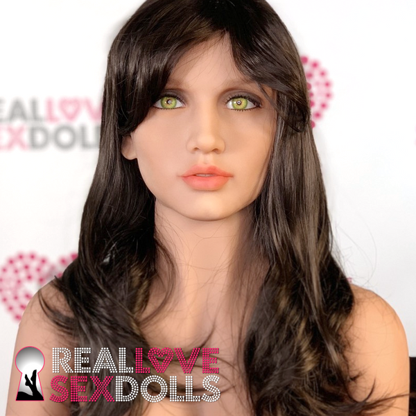 Sex doll accessory, mid-length dark brown wig with side bang.