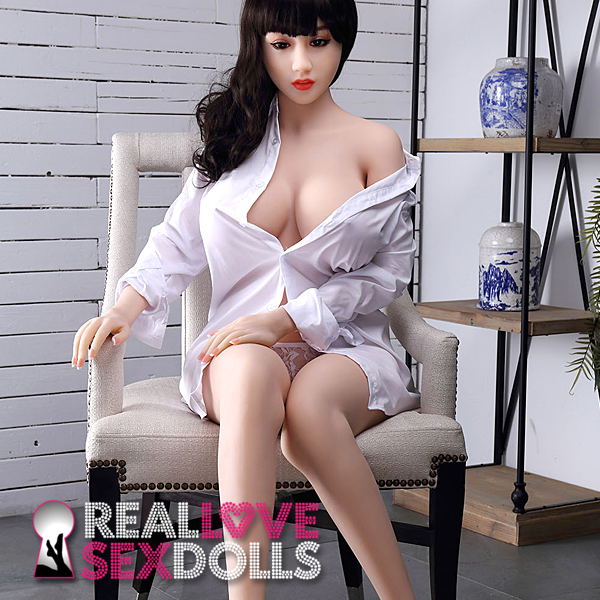Sexy porcelain white big busty premium TPE sex doll 150cm G-cup Elina