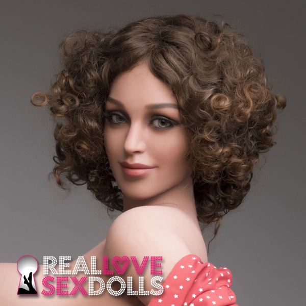 Striking middle part curly brunette wig for premium TPE love dolls