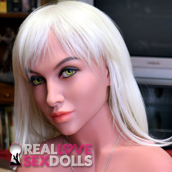 Straight shoulder-length platinum blonde wig with bangs for premium TPE sex dolls
