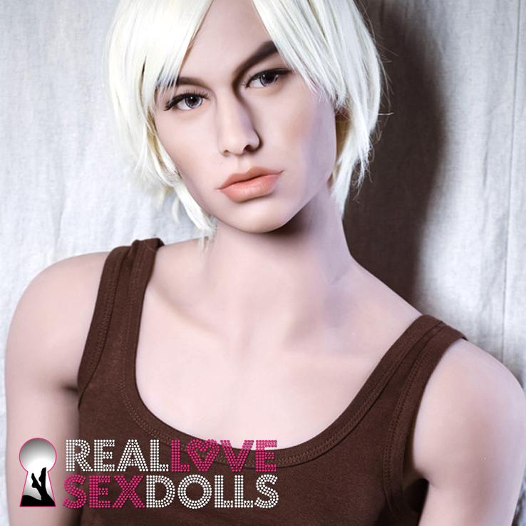 Bright white shaggy center part short men's wig for premium TPE sex dolls