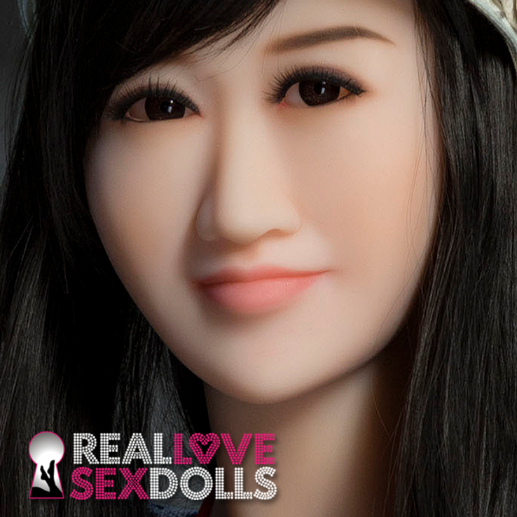 Sweet happy Asian girlfriend life-like realistic TPE replacement sex doll head #219