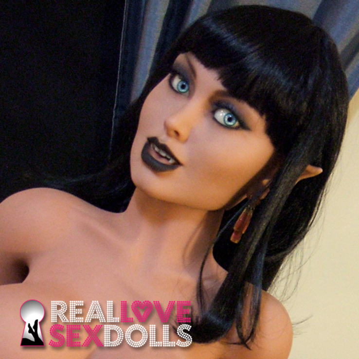 Seductive silky black shoulder-length wig with straight bangs for naughty life-like TPE sex dolls