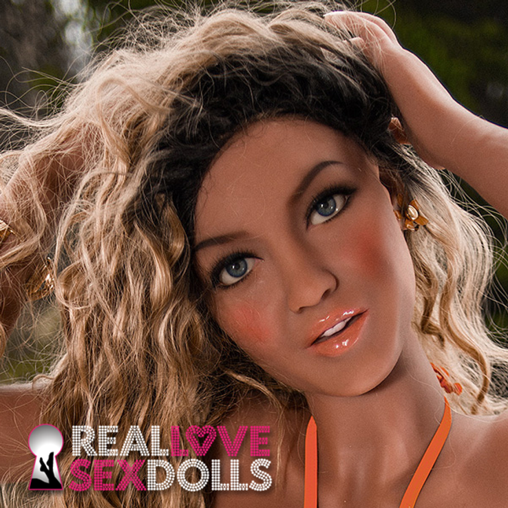 Long wavy lace-front wig with sun-bleached blonde highlights, for realistic TPE sex dolls