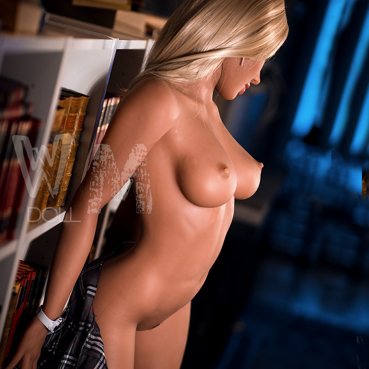 life size sexy sex doll college coed blonde bombshell with tan skin and blue eyes.