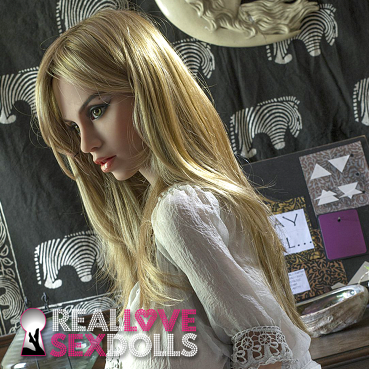 Long honey blonde wig with center part for premium TPE love dolls