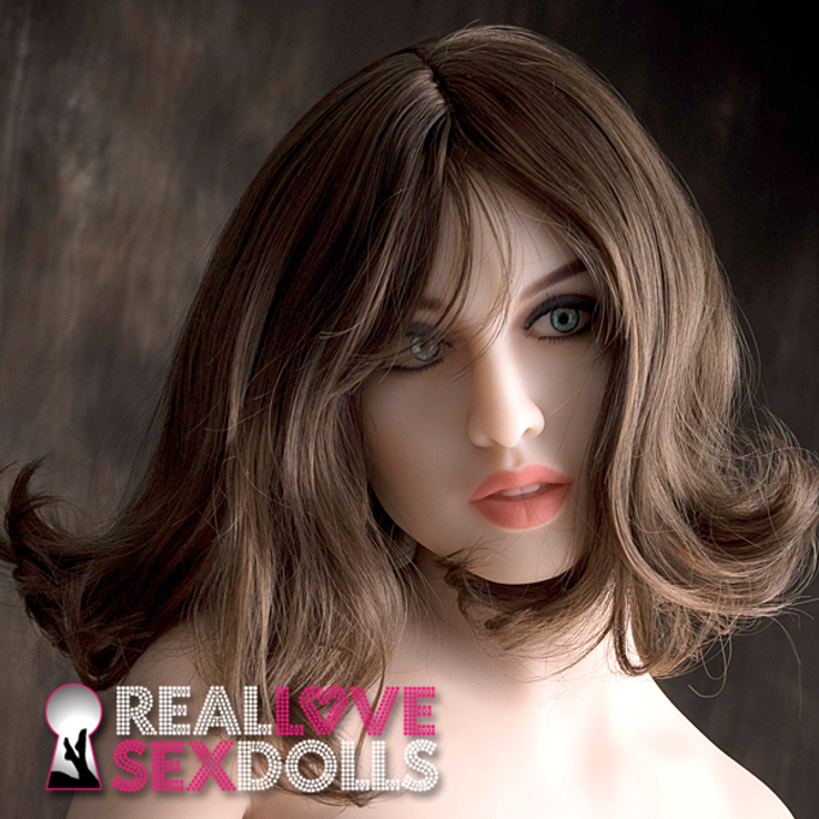 Classy shoulder-length middle part brunette wavy hairstyle for high-quality TPE love dolls