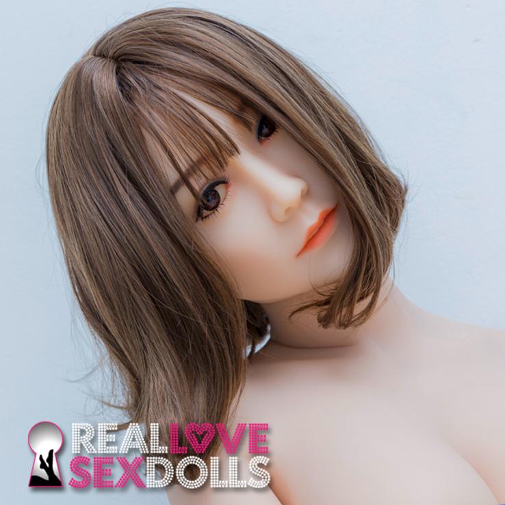 shoulder length sporty brunette cut with bangs premium wig for TPE sex dolls