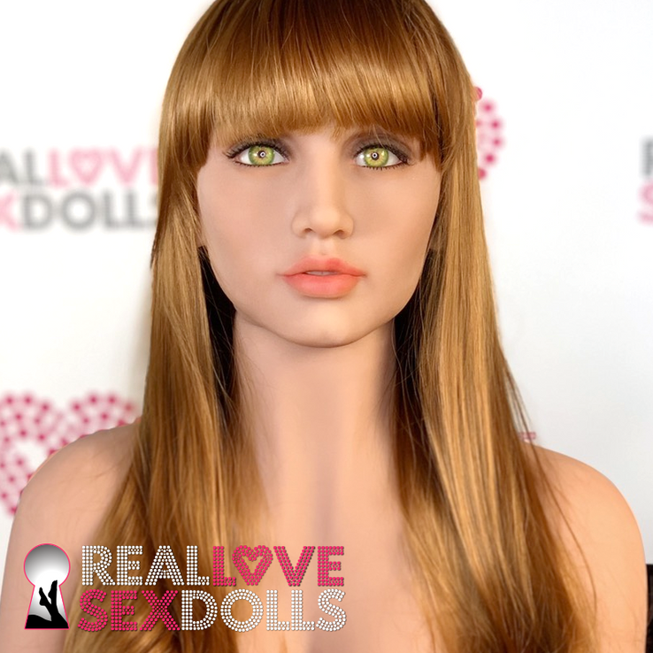 Sex doll accessory, long straight auburn wig with bangs.