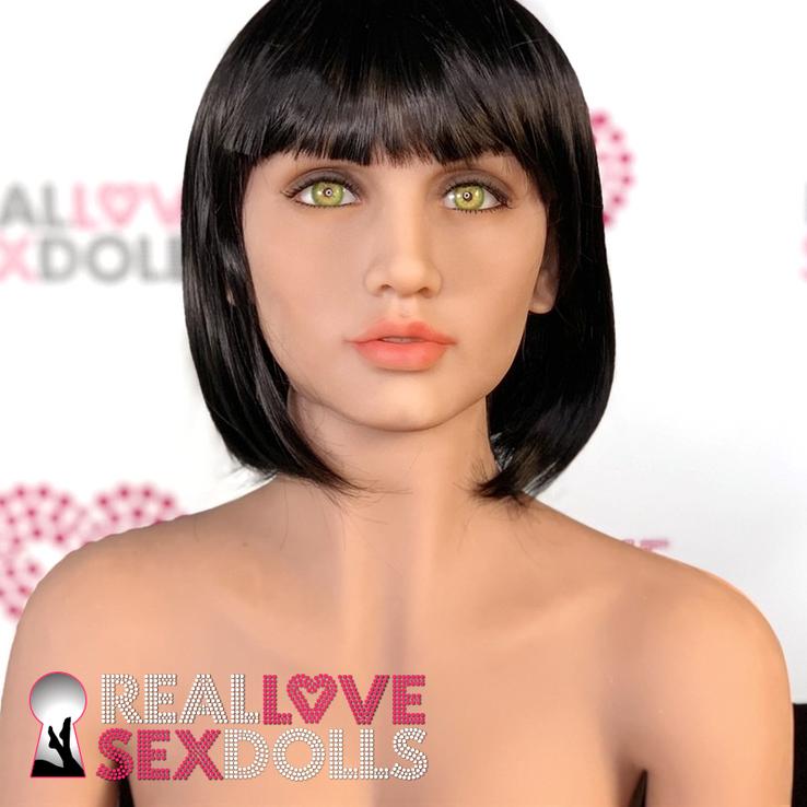 Sex doll accessory wig, short black bob with bangs.