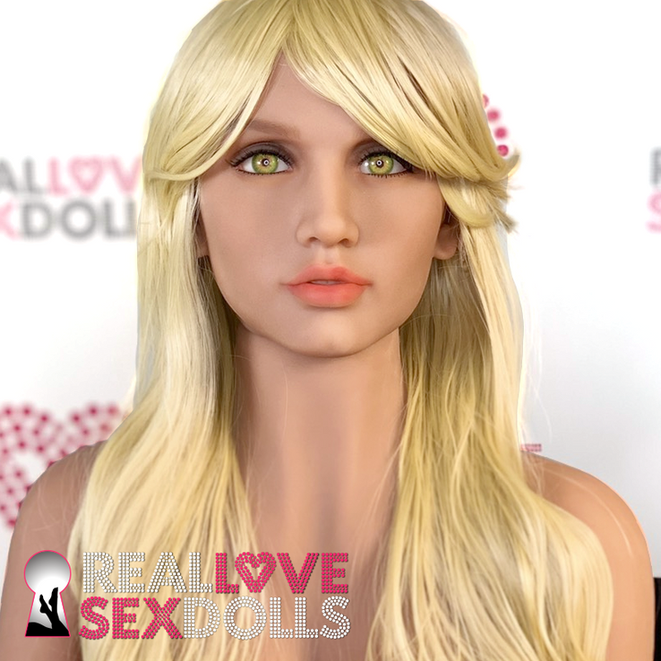 Sex doll accessory, long blonde straight wig with side part.