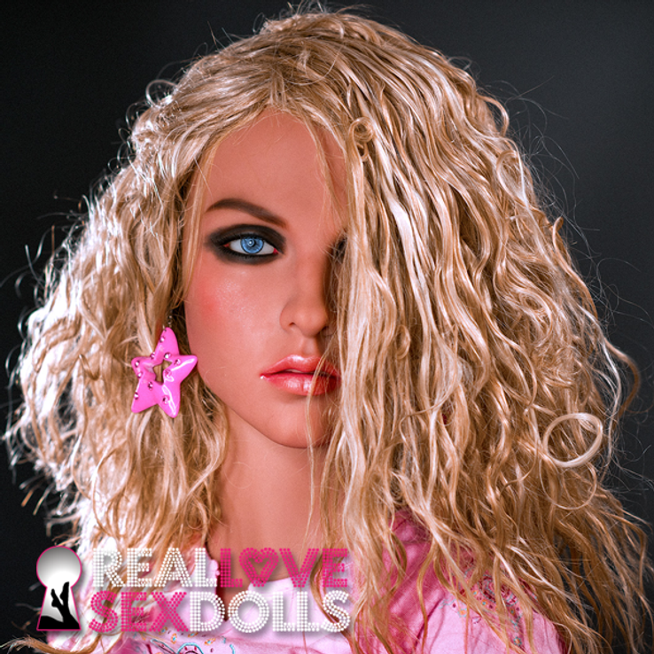 Shoulder length curly blonde center part wig for premium TPE sex dolls