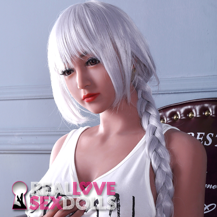 Punk rock and cosplay light gray premium wig with bangs and braided ponytail for life-like TPE sex dolls