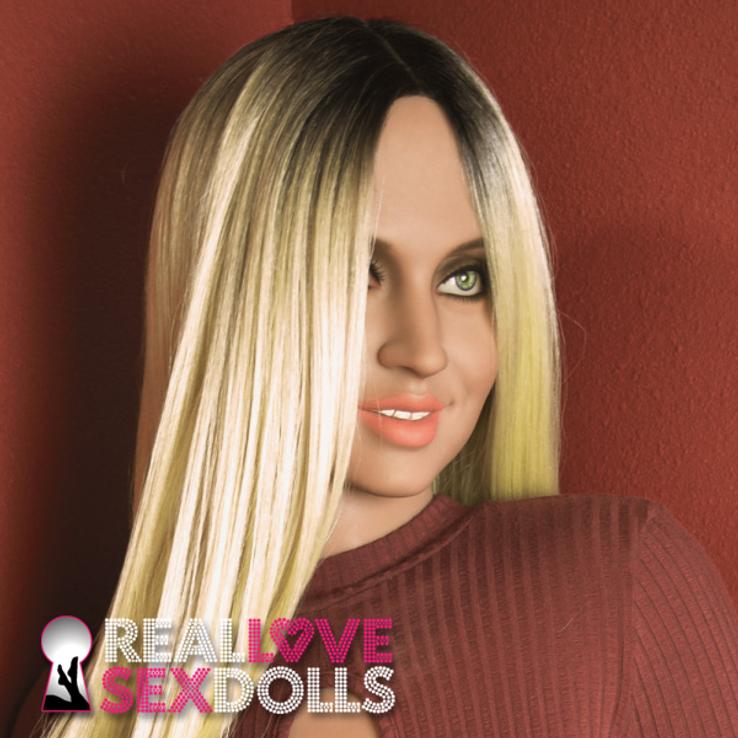 Center part long black to blonde ombre wig for premium TPE sex dolls