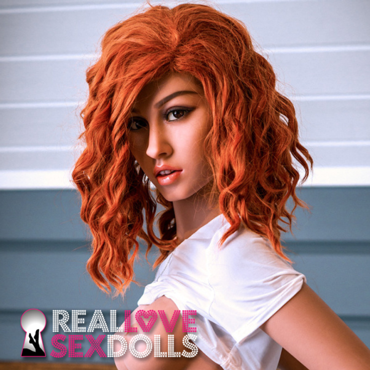 Thick red ginger curly wig for premium TPE sex dolls