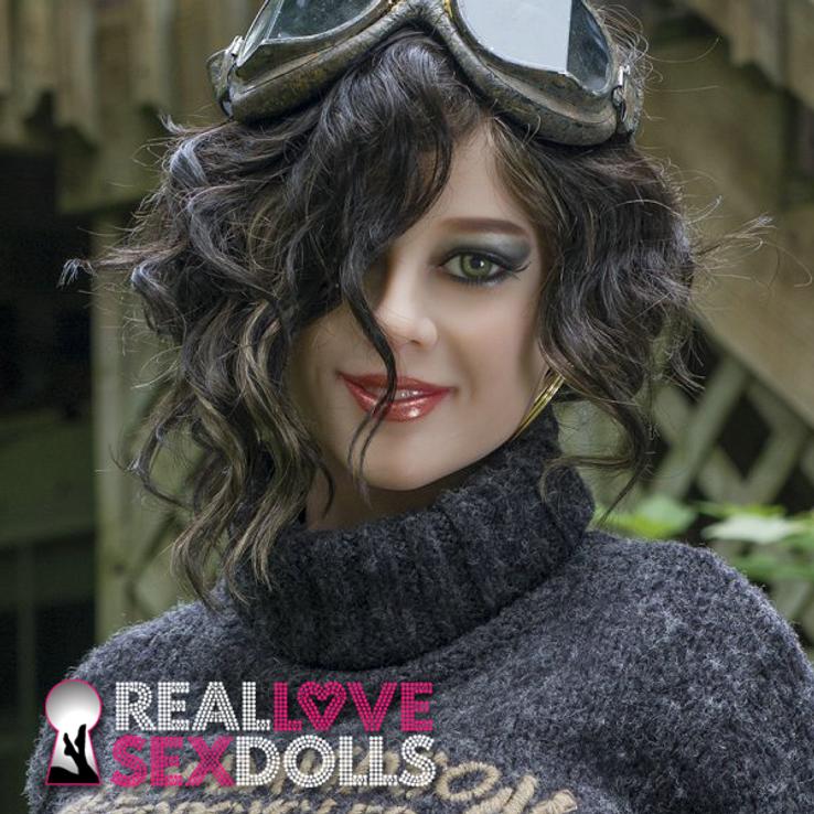 Brunette tight curls center part wig for premium TPE sex dolls