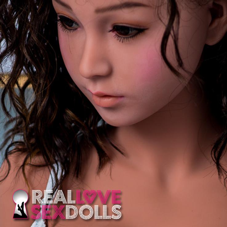 Dark brown beachy waves sex doll wig