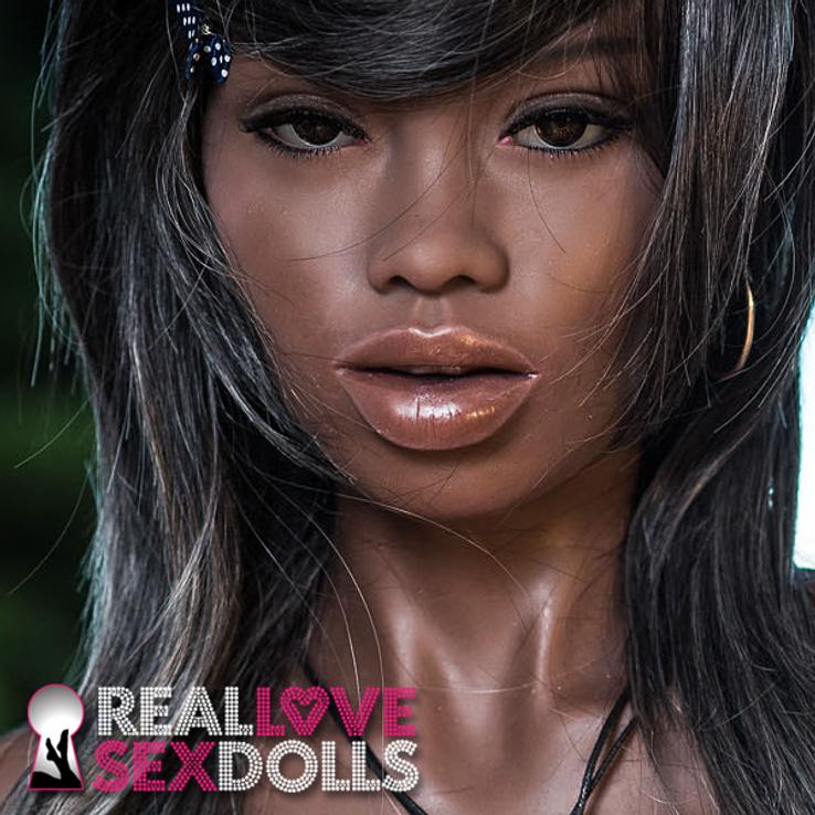 Lifelike African American sex doll head #64