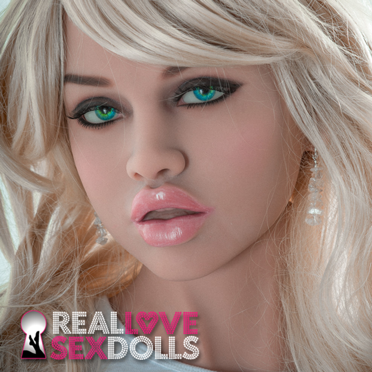 Stunning seductive full lips sex doll head #142