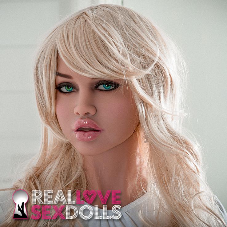 Long wavy platinum blonde side part sex doll wig as seen on Skye