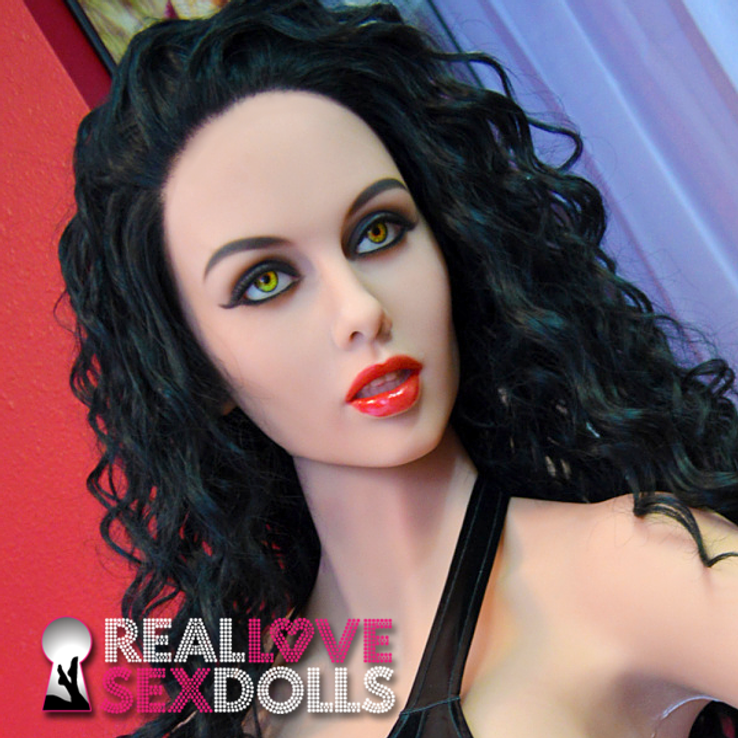 Long black curly premium wig for sex dolls