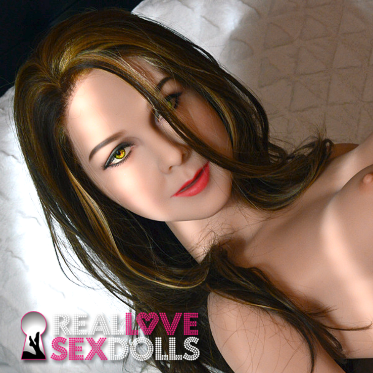 Long brown with blonde streaks premium wig for high-quality TPE sex dolls