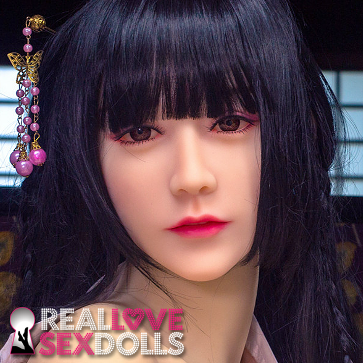 Long black straight bangs traditional Japanese Miko hairstyle wig for premium TPE sex dolls