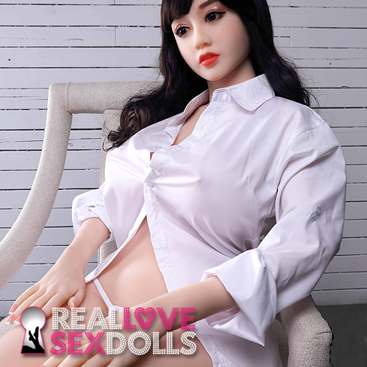 Sexy porcelain white big busty premium TPE sex doll 150cm G-cup Elina