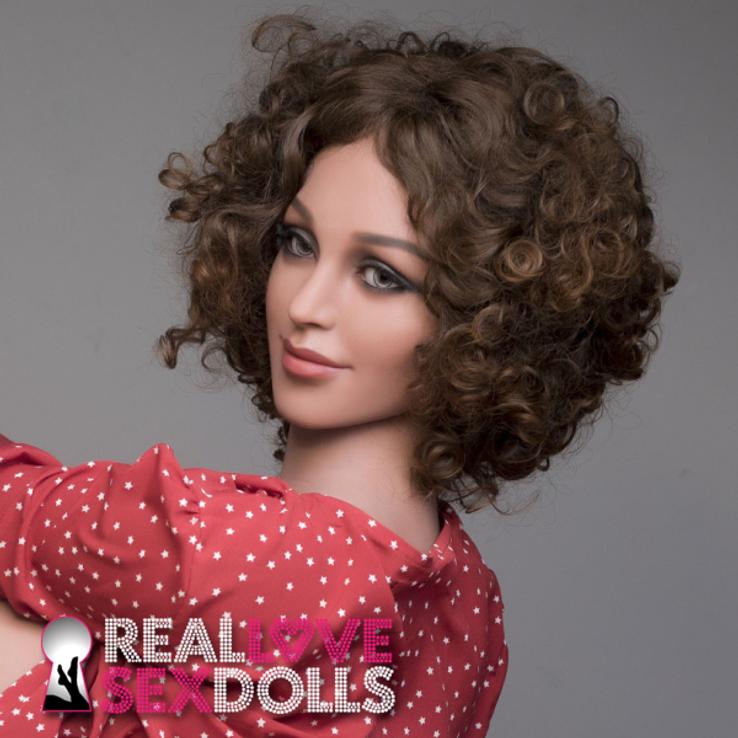 Striking middle part curly brunette wig for premium TPE love dolls