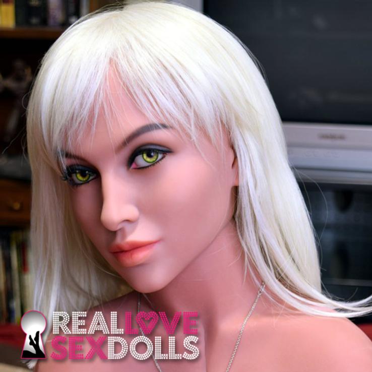 Straight shoulder-length platinum blonde wig with bangs for premium TPE sex dolls