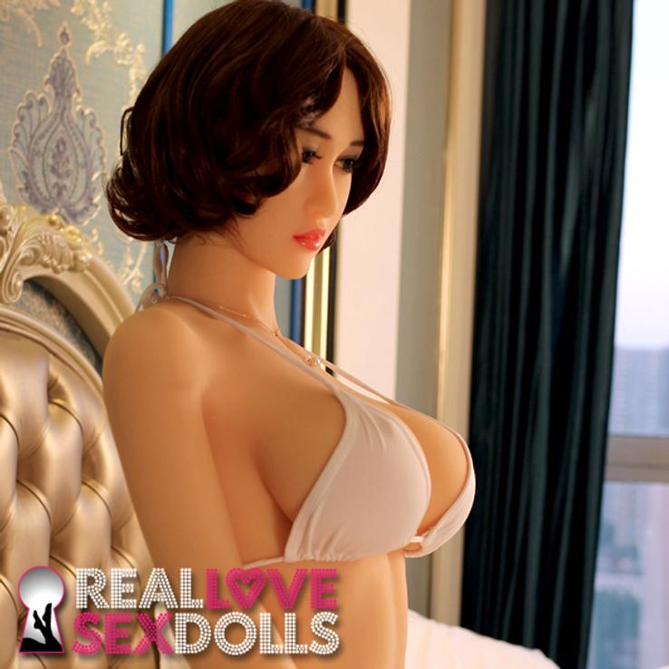 Short dark brown middle-part wavy wig for premium TPE love dolls