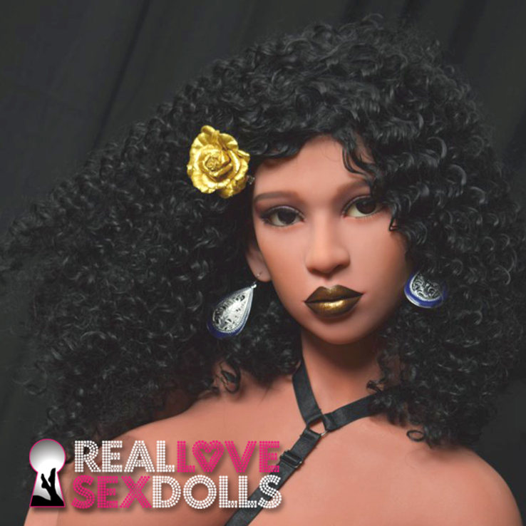 Shoulder-length black wig with tight curls and center part for premium TPE sex dolls