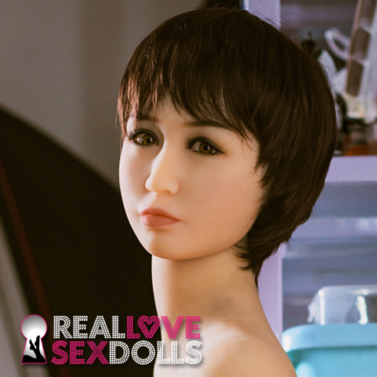 Short brown tomboy premium wig with bangs for life-like TPE sex dolls