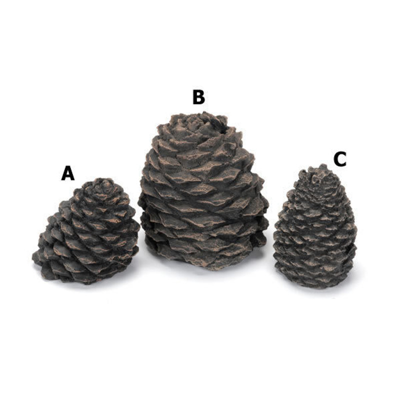 """Hargrove Small Slanted Ceramic Pine Cone For Gas Logs, 3.5""""H"""