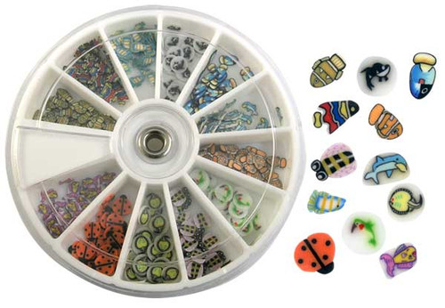 Fimo Nail Art Polymer Sliced Clay Canes - Assorted 240/pk