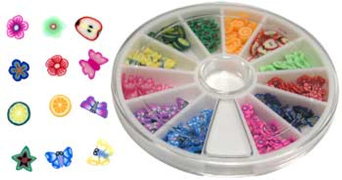 Fimo Nail Art Polymer Sliced Clay Canes - Bugs & Fruit 240/ct