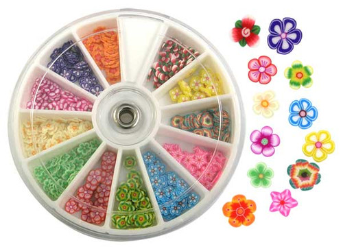 Fimo Nail Art Polymer Sliced Clay Canes - Assorted Flowers 240/pk