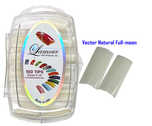 Lamour Vector Straight Natural Full-moon Tips - 100 ct