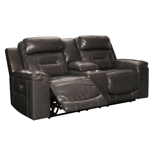 Ashley U5010118 Pomellato Leather Power Reclining Console Loveseat With Adjustable Headrest Gray