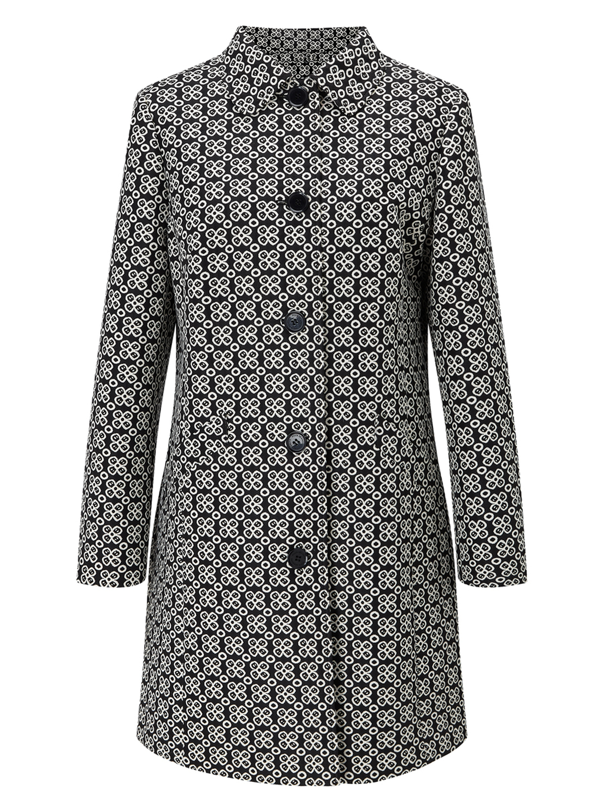 PEARTREE – Floral Single Breasted Coat, Black