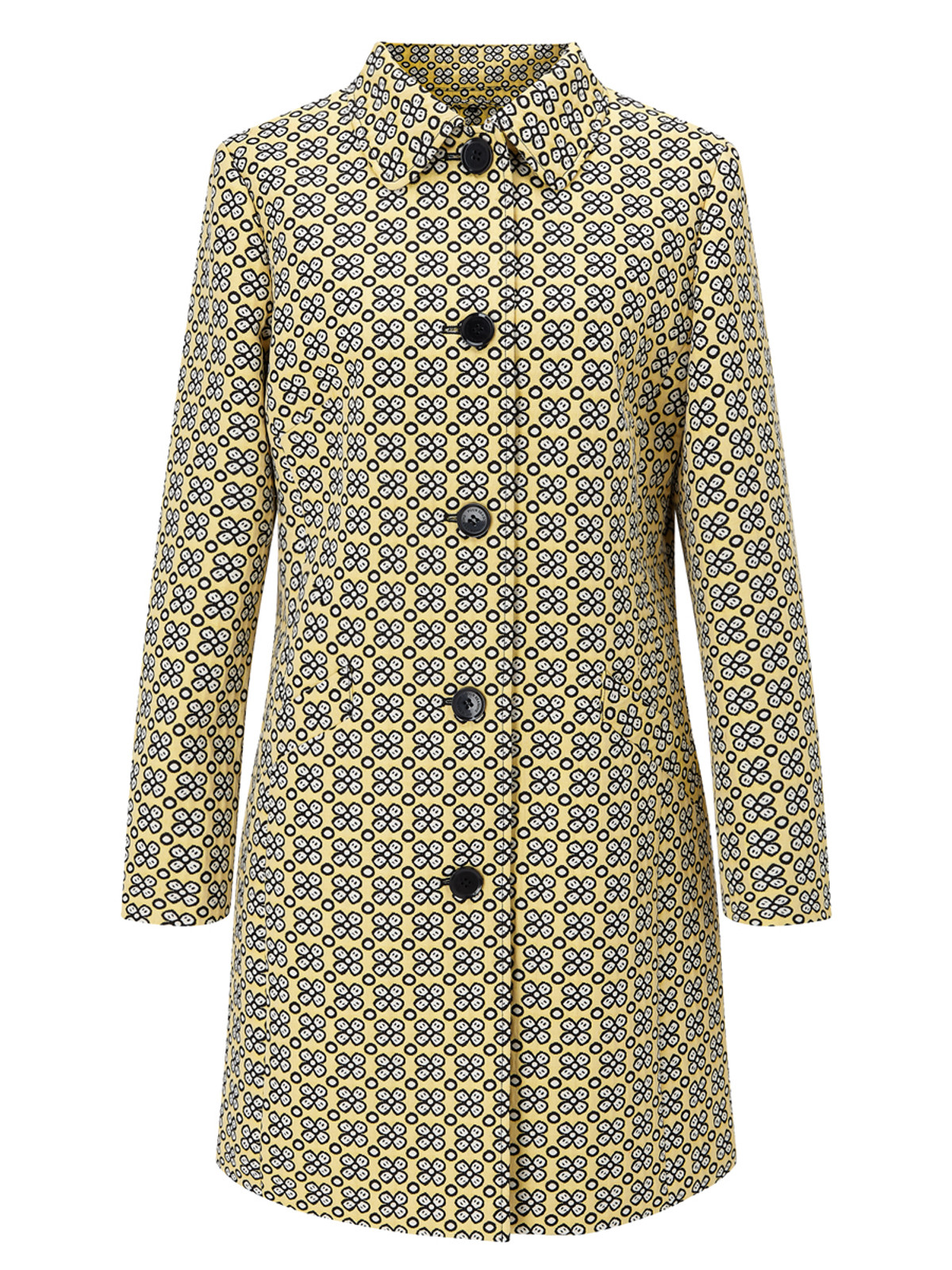 Floral Single Breasted Coat, Yellow